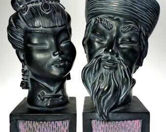 Universal Statuary Asian Couple Bust Sculpture 1960 Ebony Black Chicago