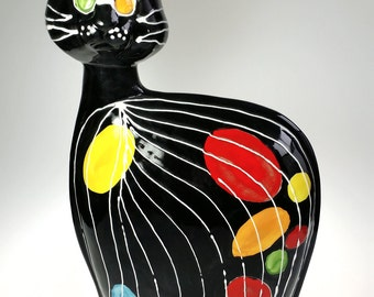 Anatoly Turov Hand Painted Ceramic Art Pottery Black Cat 1997 Signed