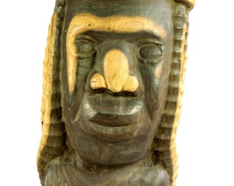 African Hand Carved Wood Bust Ethnic Sculpture Large Ethnic Tribal Art Vintage