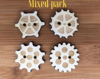 Cog Style Buttons, Funky buttons, Buttons for Phone cases, Steam Punk Cog Buttons, Wood Engraved Buttons, Wood Cog Buttons.