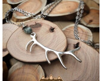 Silver Elk Antler Necklace with Ocean Jasper Nugget