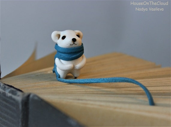 Polar Bear Bookmark animal woodland bookmarks Bear bookmarker unique book mark cute childrens gift ideas for book lovers kids book scarf