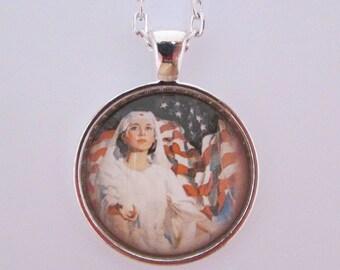 Nurse Glass Photo Pendant, Red Cross Pendant, Nurse Jewelry, Glass Nurse Necklace, Gift for Nurse, Nursing School Graduation