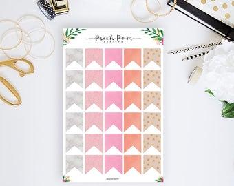 Peach Pom Flag Planner Stickers