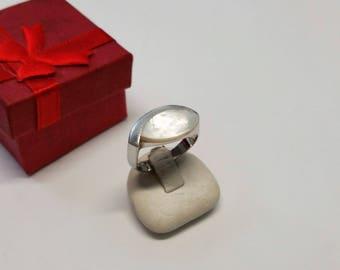 18.1 mm designer ring Silver 925 Pearl White SR557