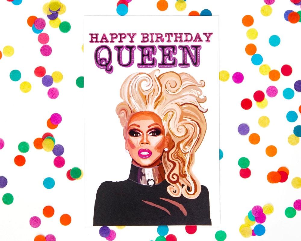 Birthday Card Rupaul Card Drag Queen Card Blank Card 100 – Gay Happy Birthday Card