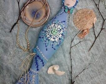 Spirit doll,mermaid spirit doll,water spirit doll,art doll,mermaid doll,pagan altar doll,blue spirit doll,water element,wicca altar doll,