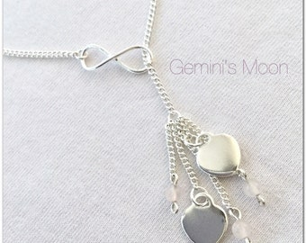 Sterling Silver Infinity Lariat Neklace. Rose Quartz Lariat. Heart Lariat. Romantic Gift. Valentine Gift. Gift for her. Heart Necklace. Love
