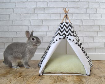 Rabbit teepee Guinea Pig bed with pillow - black & white - chevron - pompom trim