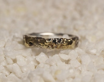 Gold fused on silver ring, handmade