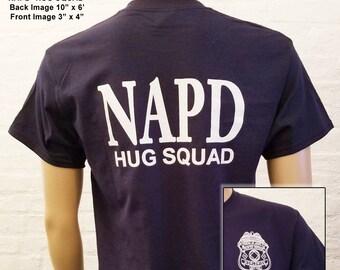 NA - NAPD Hug Squad - Navy Blue T-shirt - S-5X -Black - 100% cotton.   Narcotics Anonymous