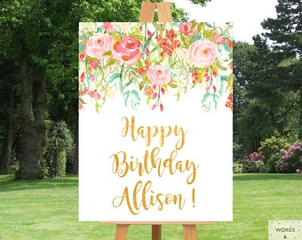 Birthday Banner Personalized, Girl Birthday Party, Custom Birthday Banner, Birthday Party Supplies, Birthday Sign, Party Decorations, Floral
