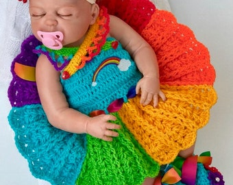 Baby crochet patterns, Rainbow Baby dress Pattern, Crochet Baby Pattern, baby headband, Baby shower, Rainbow Baby dress, Rainbow baby gift