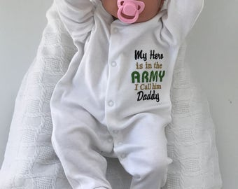 My hero is in the Army And I Call Him Daddy custom sleeping suit, personalised baby clothing, military gift, baby shower gift, baby shower