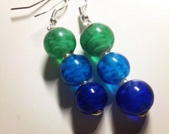 Tricoloured Bubble Bead Earrings