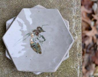 Grey Honeycomb Ring Dish