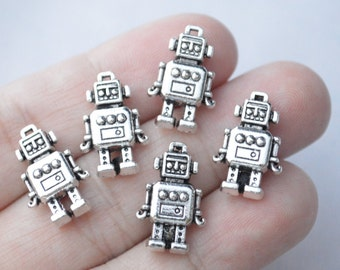 4 Pcs Robot Charms Antique Silver Tone 2 Sided 18x12mm - YD1180