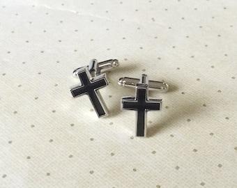 Christian Cross Cufflinks Cuff Links in Silver