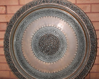 Spectacular Vintage Persian Tray Circa 1960's Incised and Engraved with a garden of Paradise Motif