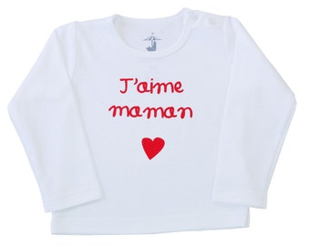 "Mother's day t-shirt-French for ""I love mommy""-baby or toddler top-100 % pima cotton-special price!"