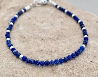 Blue bracelet, lapis bracelet, sterling silver bracelet, Hill Tribe silver bracelet, gemstone bracelet, natural bracelet, gift for her
