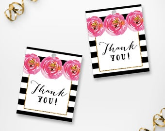 Printable Floral Stripes Thank You Tags, Printable Black Stripes Floral Thank You Labels, Printable Bridal Shower Gift Thank You Tags