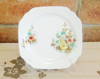Noritake Art Deco 1930s fine bone china orange and yellow floral design side plate