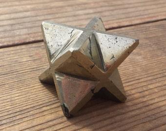 Large (50mm) PYRITE Natural Gemstone Merkaba Star (One)