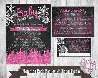 Baby Its Cold Outside Baby Shower - Winter Baby Shower - Baby Shower Invitation - Snowflakes - Snow Baby - Book Request - Diaper Raffle Pink