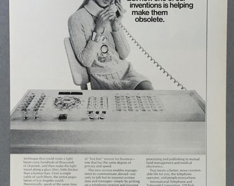 1970 International Telephone and Telegraph Corporation (ITT) Double Page Print Ad - EPABX - Telephone Operator - Vintage Technology Ad