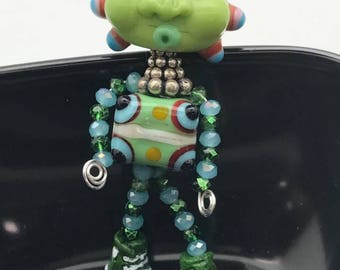 Lampwork-Pendant-Sterling Silver beads-Sterling Silver chain-Necklace