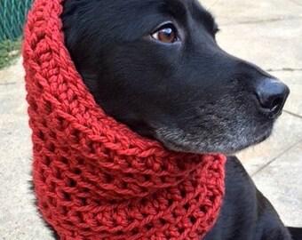 "Red Dog Snood — The ""Clifford"" Dog Snood — Dog Scarf — Snood For Dog — Red Dog Scarf — Infinity Dog Scarf — Unique Dog Gift"