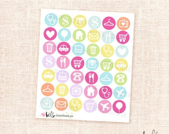 Multicolor Icon stickers - 42 Functional stickers