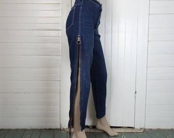 80s Zipper Jeans- 1980s Dark Blue Wash- High Waist, Tapered