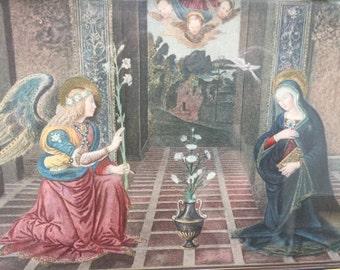 Antique Annunciation Hand Colored Print Vatican Rome Rare