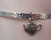 Teapot charm silver tone hammered metal look bangle  bracelet