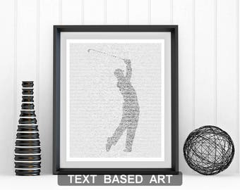 Golfer - Teeing Off - Text Art Print