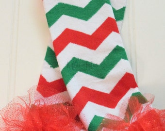 Holiday Winter Cotton Baby Leg Warmer - red and green chevron leg warmers, with Glittler Ruffle