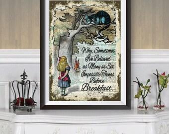Alicia en el arte de la pared de las maravillas, Alicia y el gato de Cheshire, Diccionario libro de arte cartel, cita de Lewis Carroll, Ilustración Original