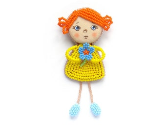 Beaded doll brooch, Yellow doll with blue flower, Baby girl pin, Child's jewelry, Little girl brooch, Red-haired doll pin, Flower girl gift