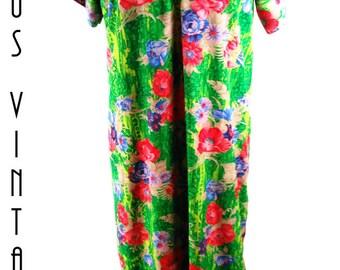 "Plus Size UK 20 Vintage 1970s Kaftan Maxi Dress Green Floral Poppies Boho Hippie Festival EU 48 US 16 Bust 46"" 117cm"