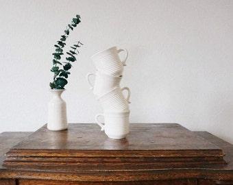 4 Vintage White Ceramic Mugs