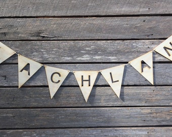 Timber Name Bunting, Wooden name bunting, custom, nursery decor, baby shower