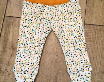 Firefly leggings with mustard waistband. Size 3-6 months.