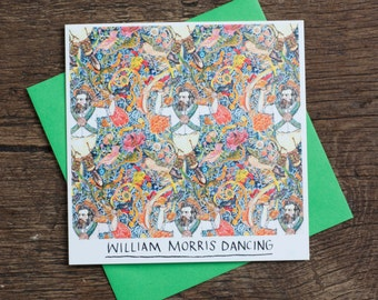 william morris dancing greetings card humour art history design pun
