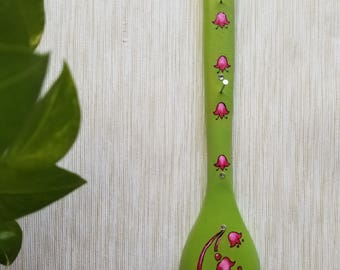 Green colored floral handpainted keychain/jewelry holder