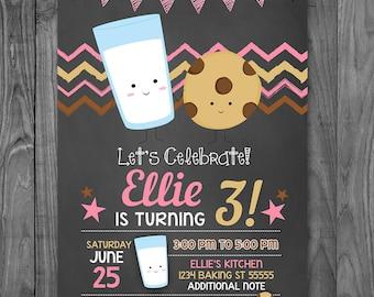Milk and Cookies Birthday Invitation Chalkboard Pink - Cookies & Milk Invitation Birthday - Cookies Milk Party Favor - Printable Invite
