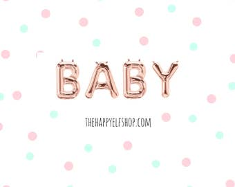 """16"""" Rose gold BABY balloons/banner. Baby shower balloons. Mom to be balloons. Baby balloons. Oh baby balloons. Baby shower decor. Baby"""