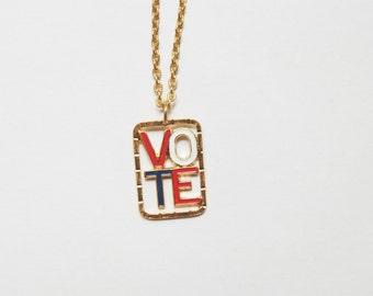 Vintage Retro 1970s VOTE Necklace Red White Blue Gold Metal Enamel, Elections, Vintage Jewelry, Vintage Vote Elections