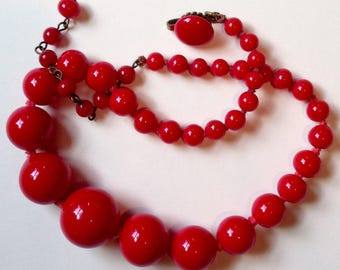 Vintage Red Bead Choker